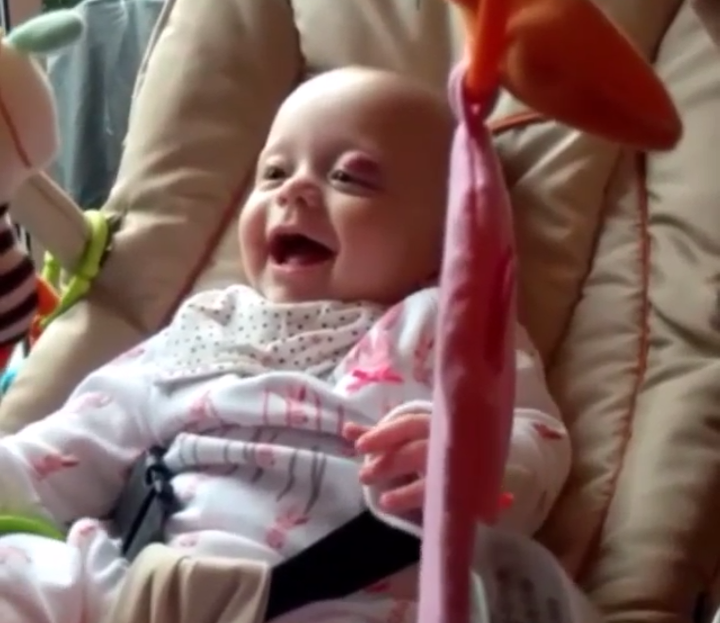 Her Aldi bouncer chair