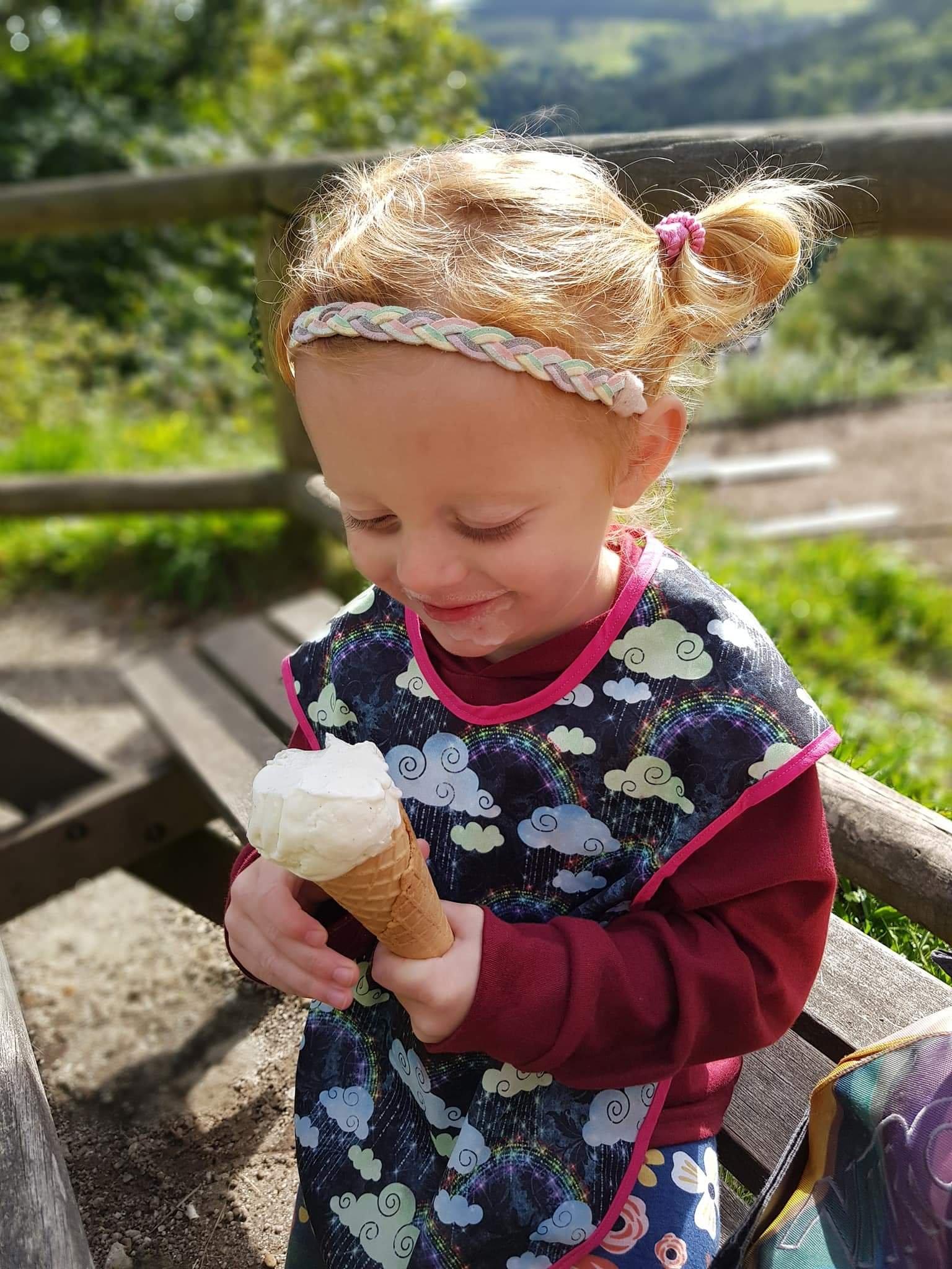 She definitely enjoyed her ice cream