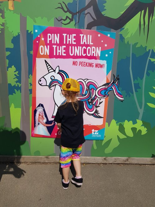 Pin the tail on the unicorn. Or not, if you're Lily!!