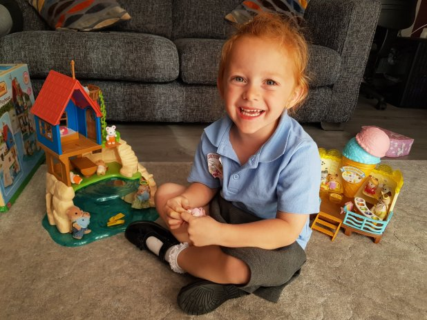 After-school quiet time with her Sylvanian Families!