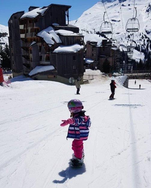 Riding down the mountain, age 3!