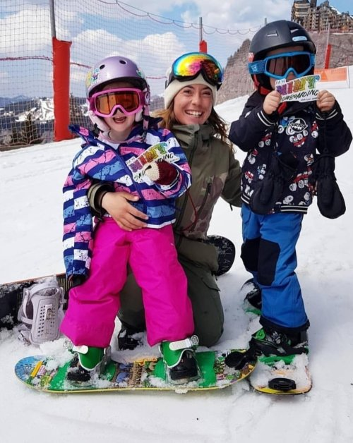 MINT's Anna at the end of the mini shred week in Morzine - two very happy kids!