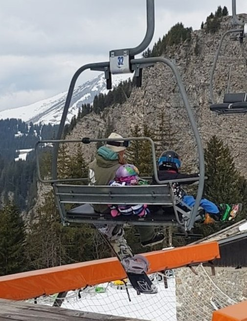 Day 1, first chairlift - nervous mama, happy Lily!