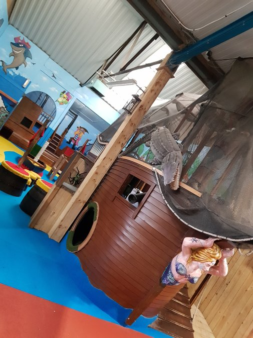 The pirate-themed indoor play barn! 10.30am on a Sunday and we had it to ourselves!