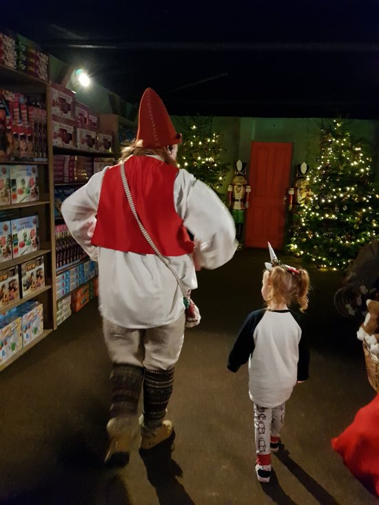 Heading into the toy shop with the elf!