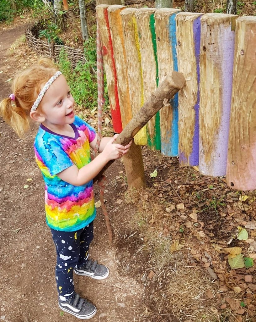 The sensory trail through the woods is great fun at Conkers