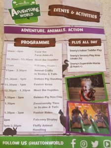 The day's activities at Hatton Adventure World