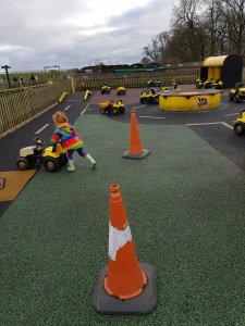 The JCB track is made of recycled trainers!