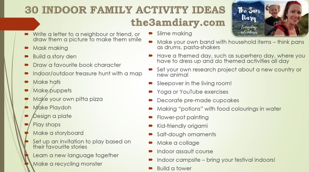 30 Indoor family activity ideas