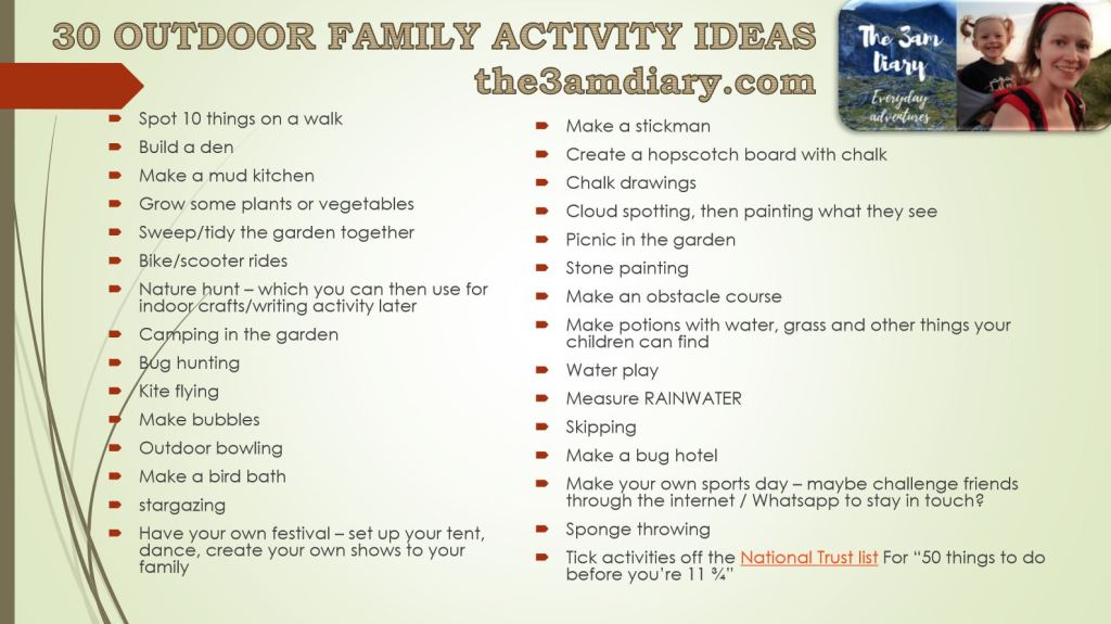 30 Outdoor Family Activity Ideas