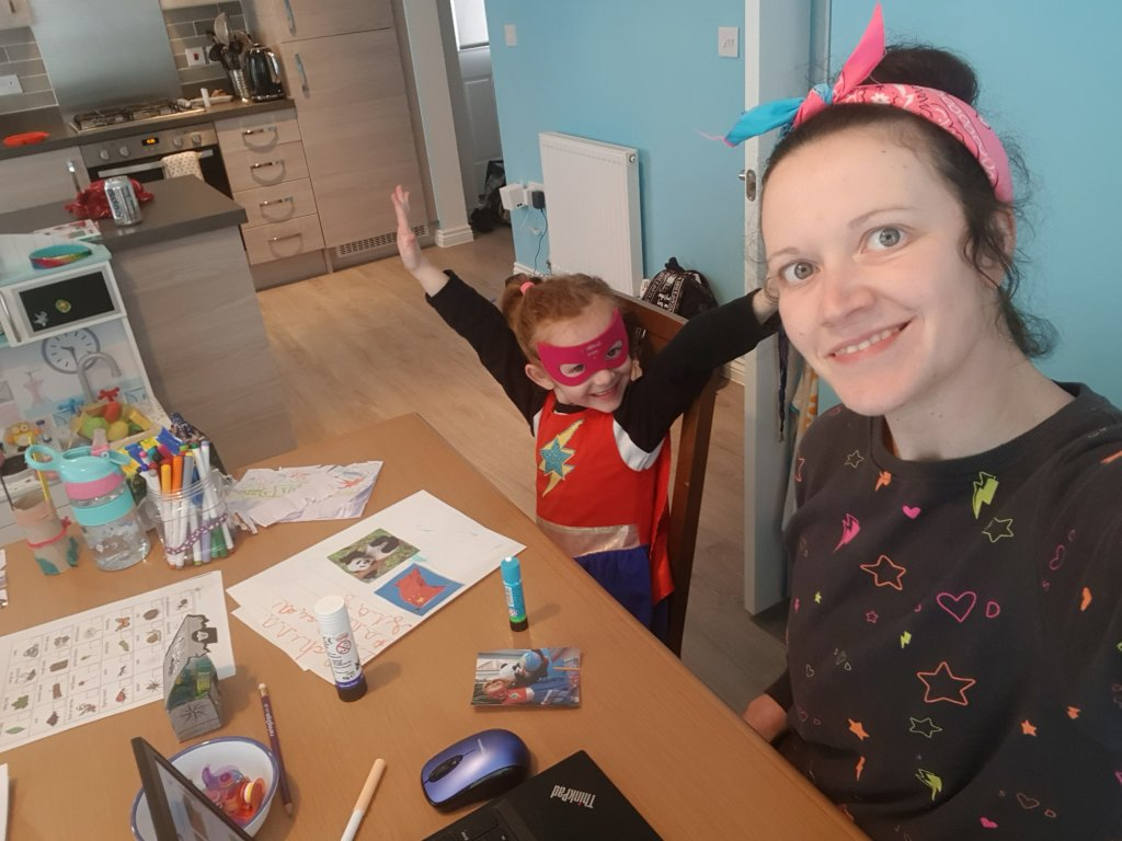 Home school vs home office with this little superhero