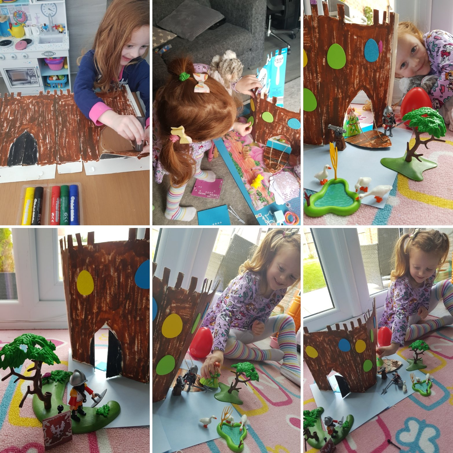Her cereal box castle and Playmobil