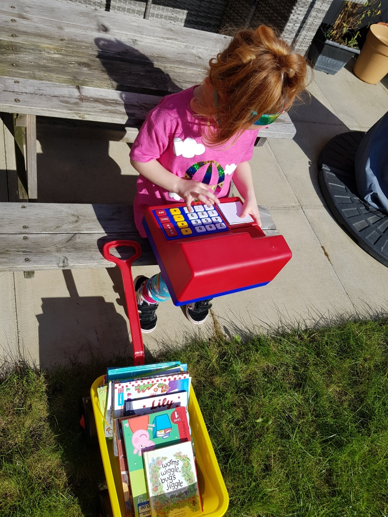 Her own mobile library with her LRUK till