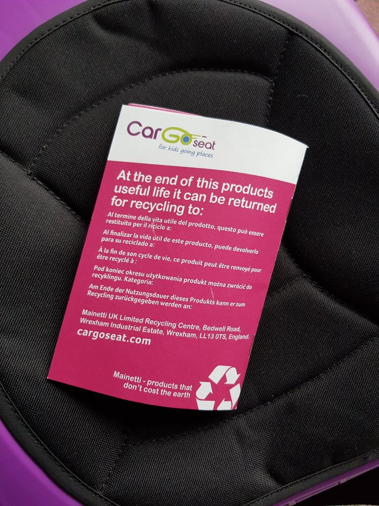 CarGoSeats can be recycled after use!