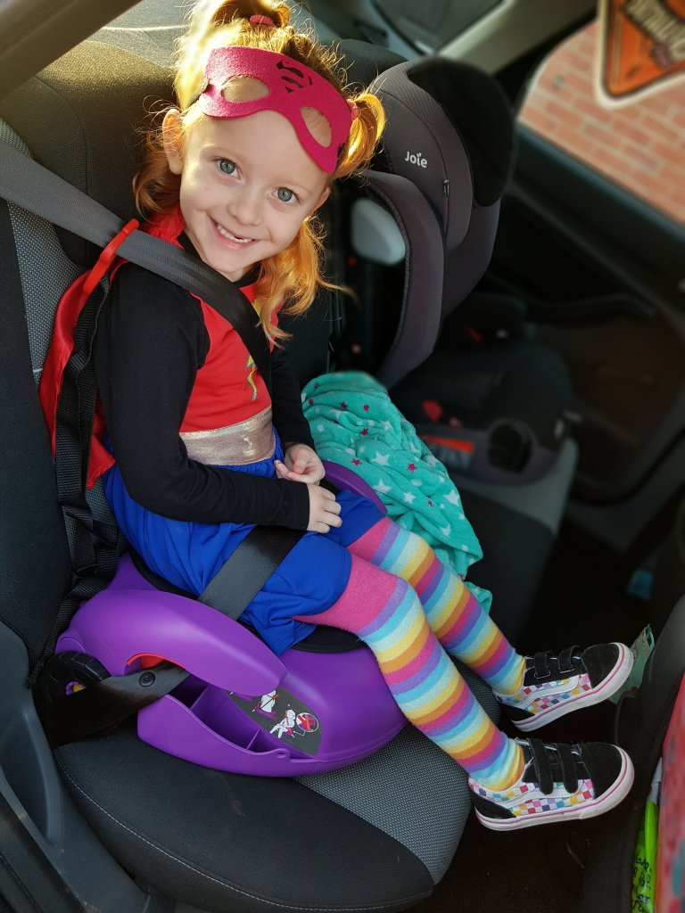 Superheroes on a missing with her CarGoSeat!