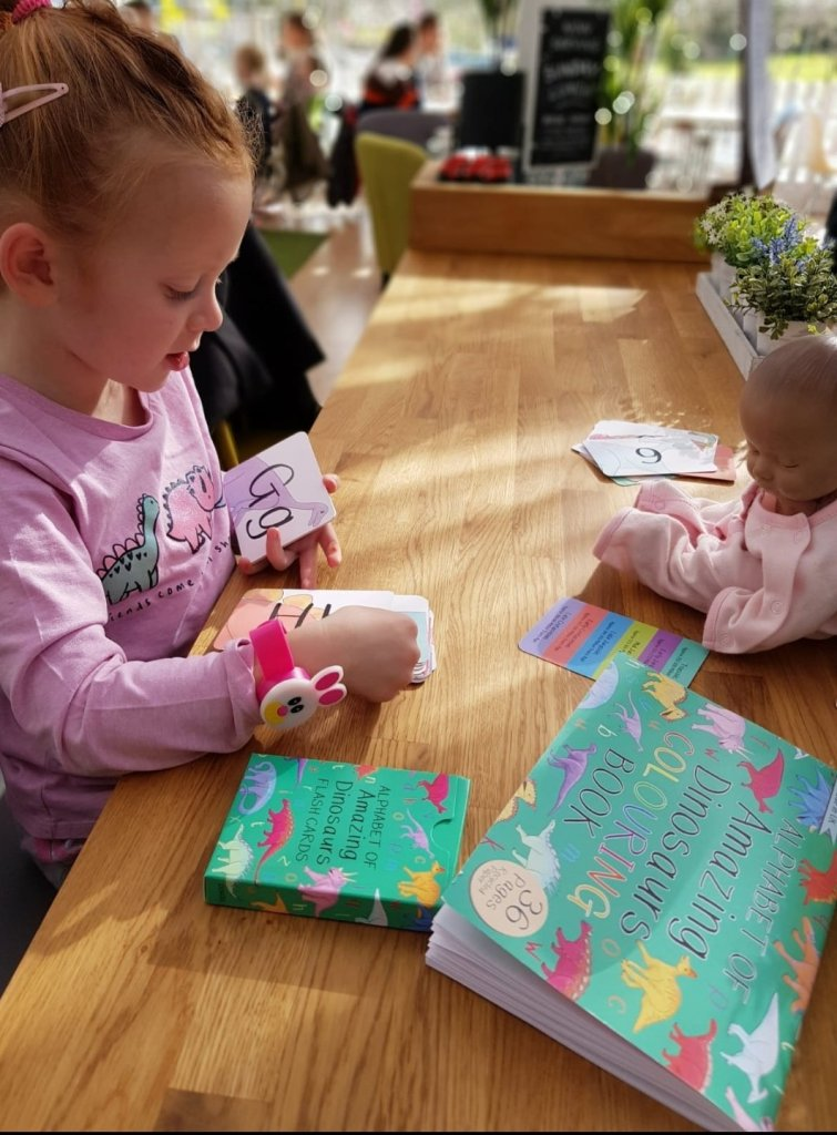 Her Amazing Dinosaurs cards and colouring book - hand-drawn by the very talented Button & Squirt