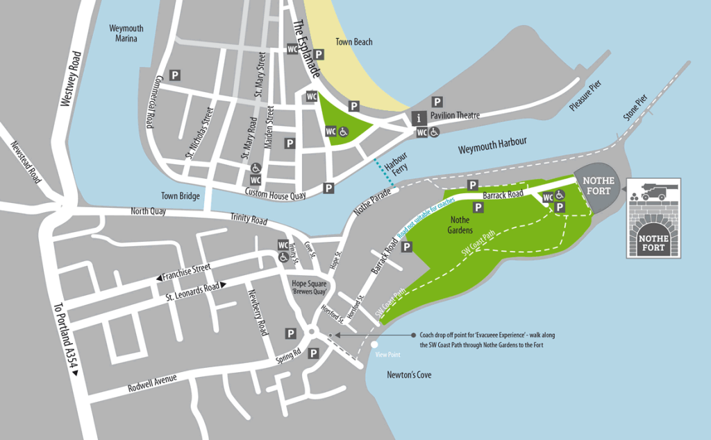 Map to visit Nothe Fort