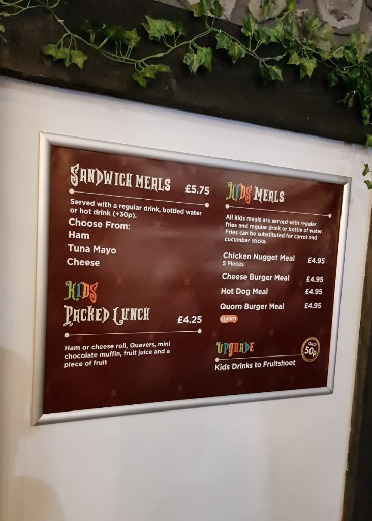 The kid's menu in Lilliput Theatre