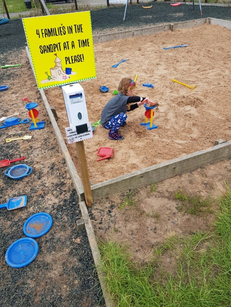 Clear signs and sanitiser stations around the play area