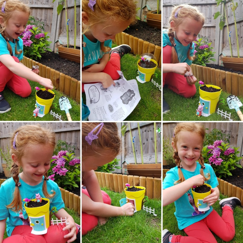 Lily having fun with the Peppa Grow & Play set