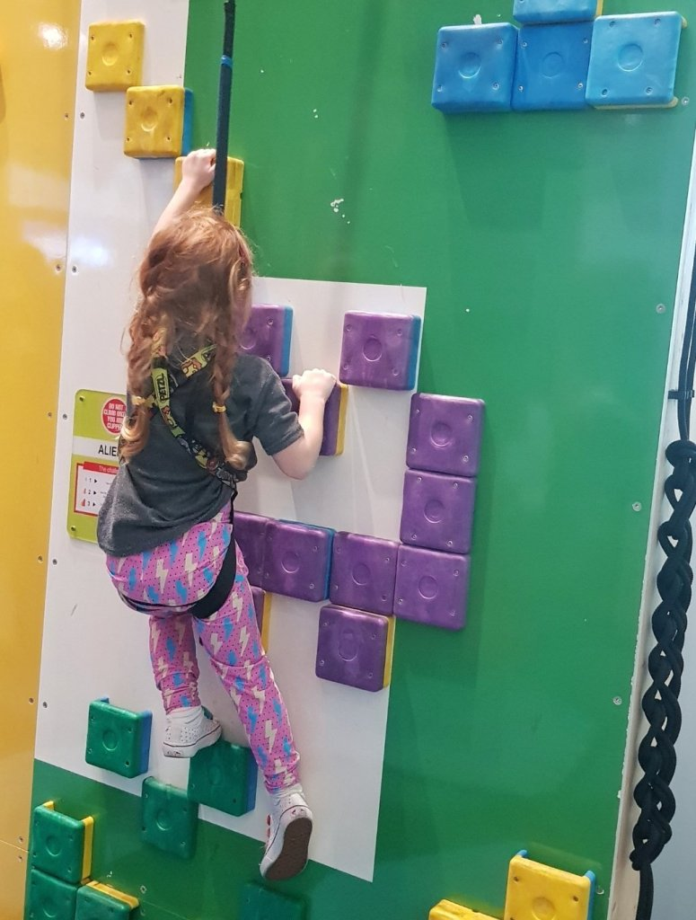 The bright colours and different walls kept the climbing fun and interesting