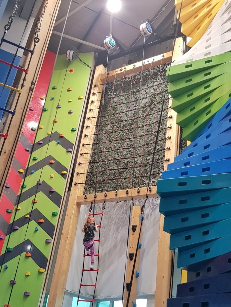 Lily's first session on the climbing wall at Tamworth SnowDome