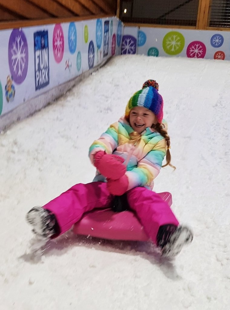 She couldn't get enough of the snow fun!