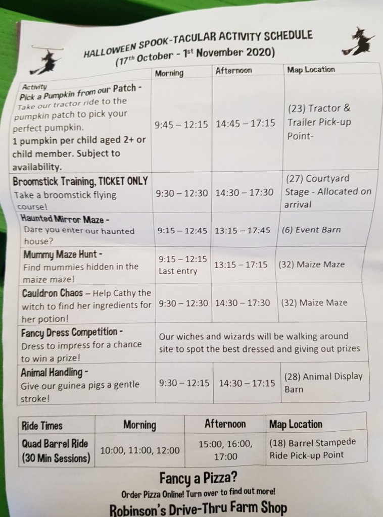 Our timetable for the Halloween event