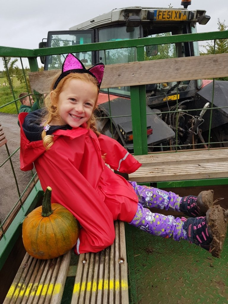 Riding the pumpkin wagon at the National Forest Adventure Farm - prepare for mud!