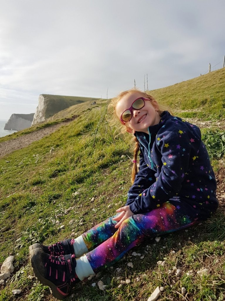 Relaxing on a walk along the Jurassic Coast