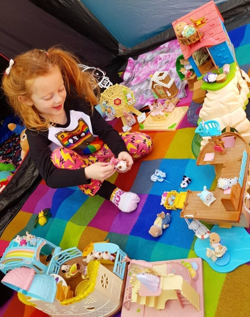 Hours of fun in her tent with her Sylvanian Families during lockdown