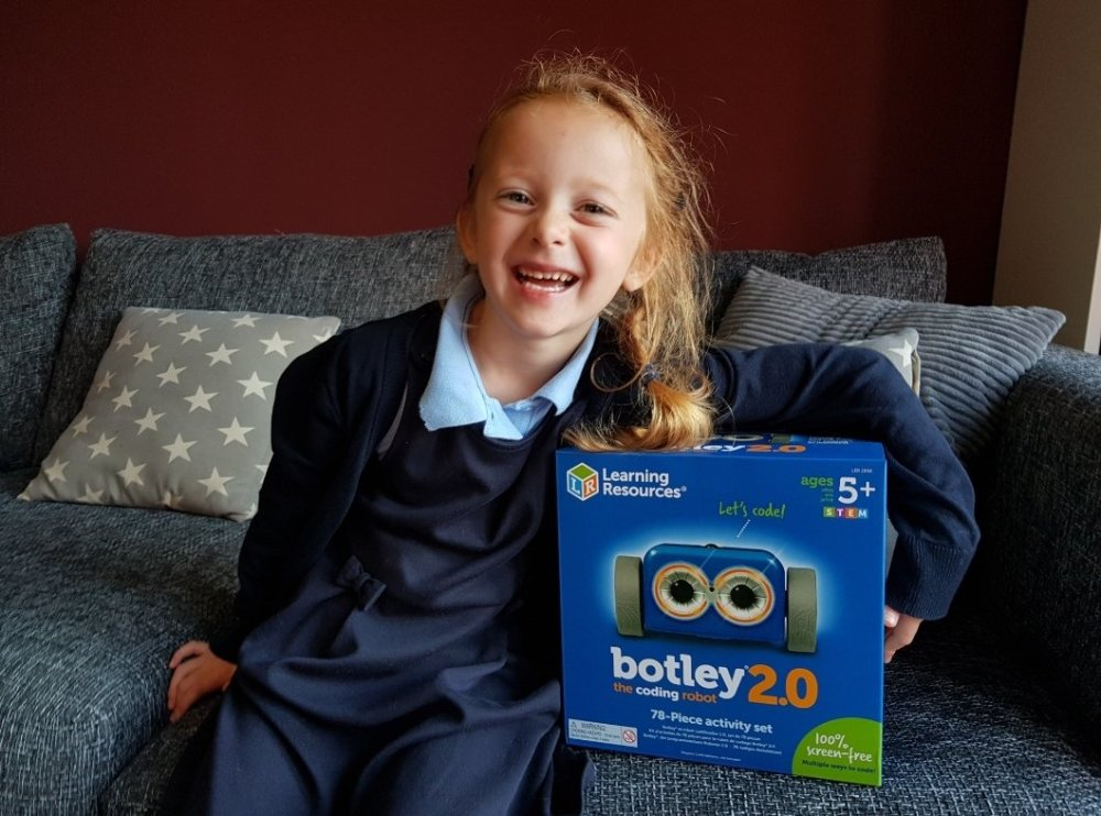 Lily and the Botley 2.0 coding robot from Learning Resources UK (gifted)