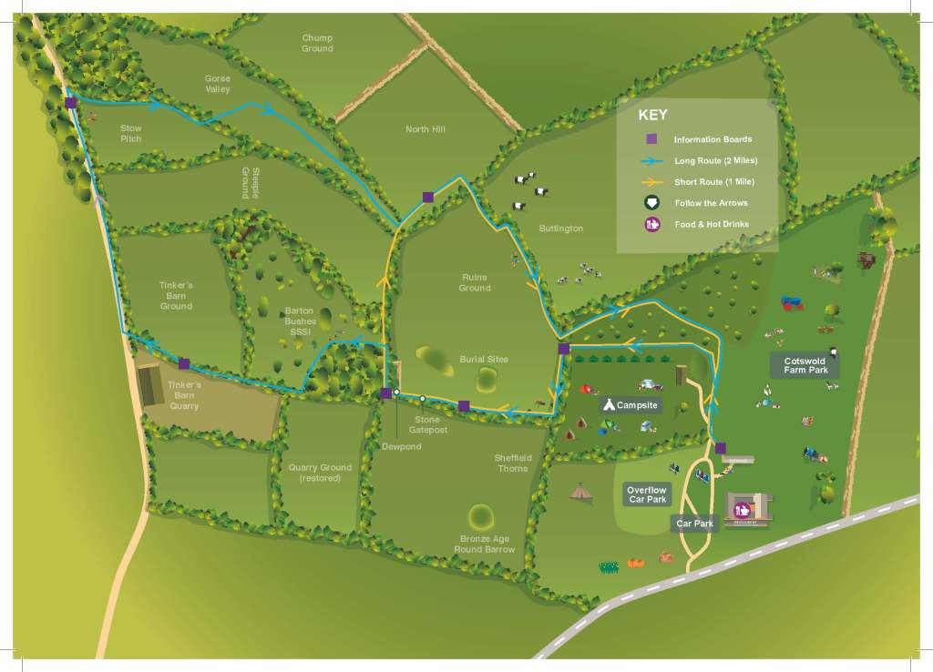 The Wildlife Walk trail map at Cotswold Farm Park
