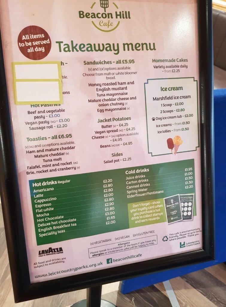 Beacon Hill Cafe Takeaway Menu (correct November 2020)