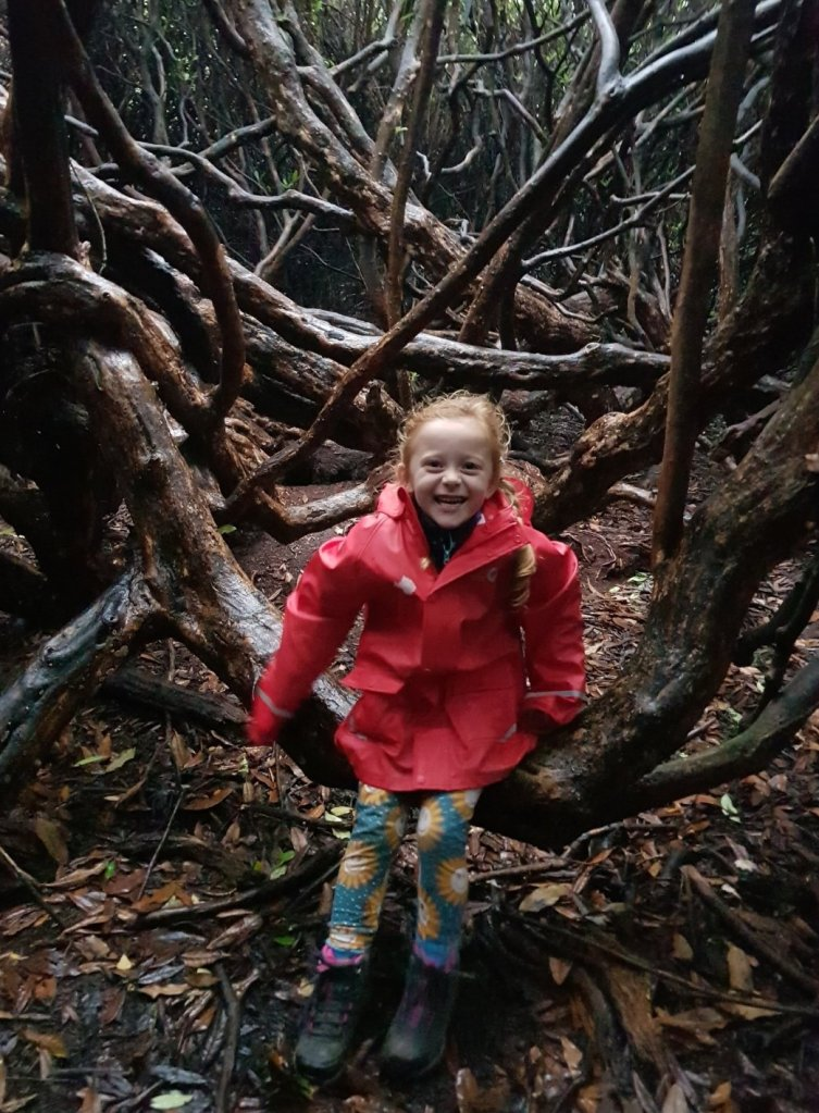 She loves the Rhododendron Labyrinth with all the snaking trees