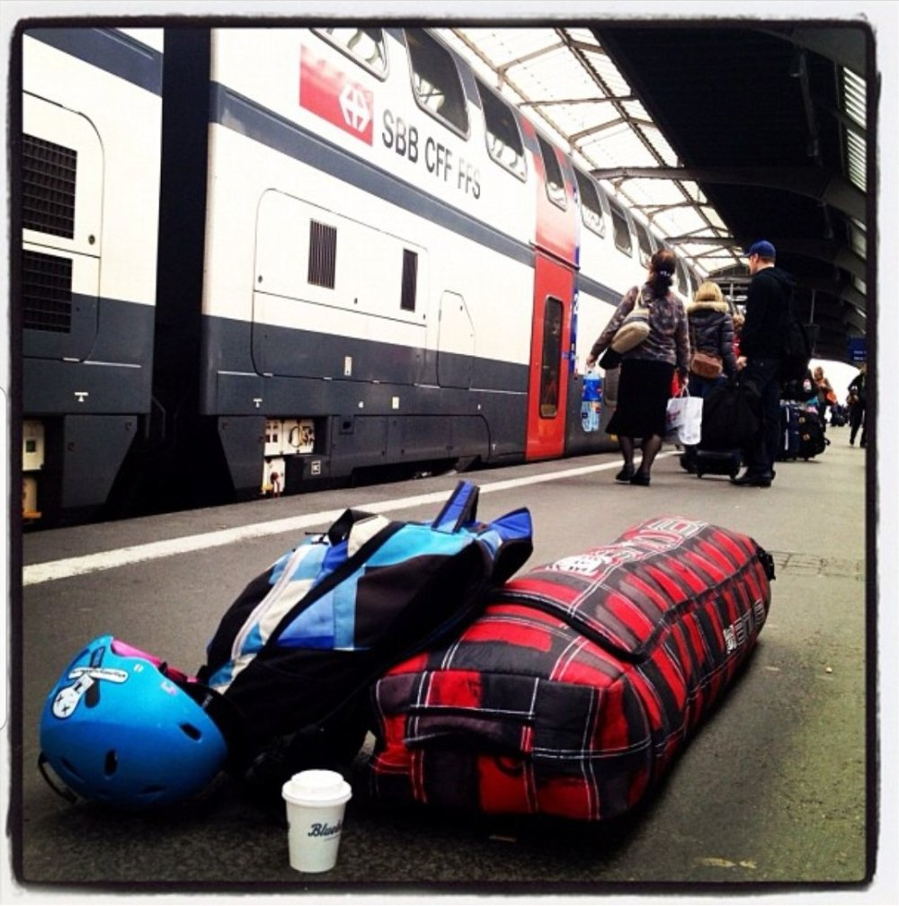 Solo travelling around Europe with my snowboard, backpack and a coffee!