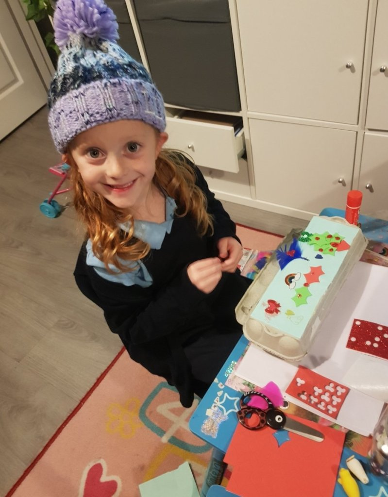 Making her festive treasure chest after school!