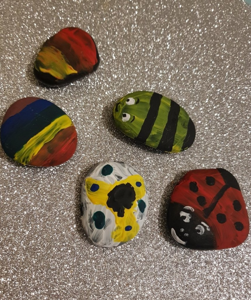 Why not paint some stones as an activity and then hide them around as a treasure hunt or for others to find?