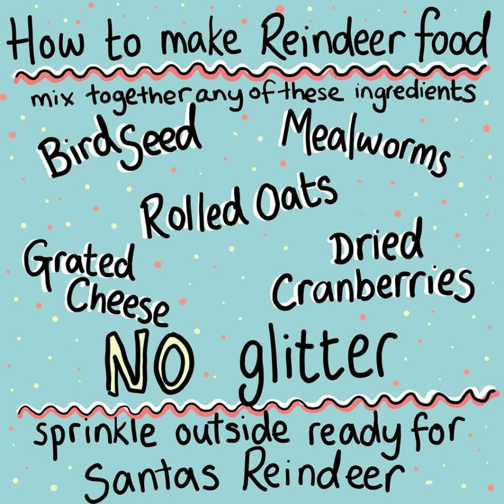 Recipe ideas for wildlife friendly reindeer food - illustration: Button & Squirt