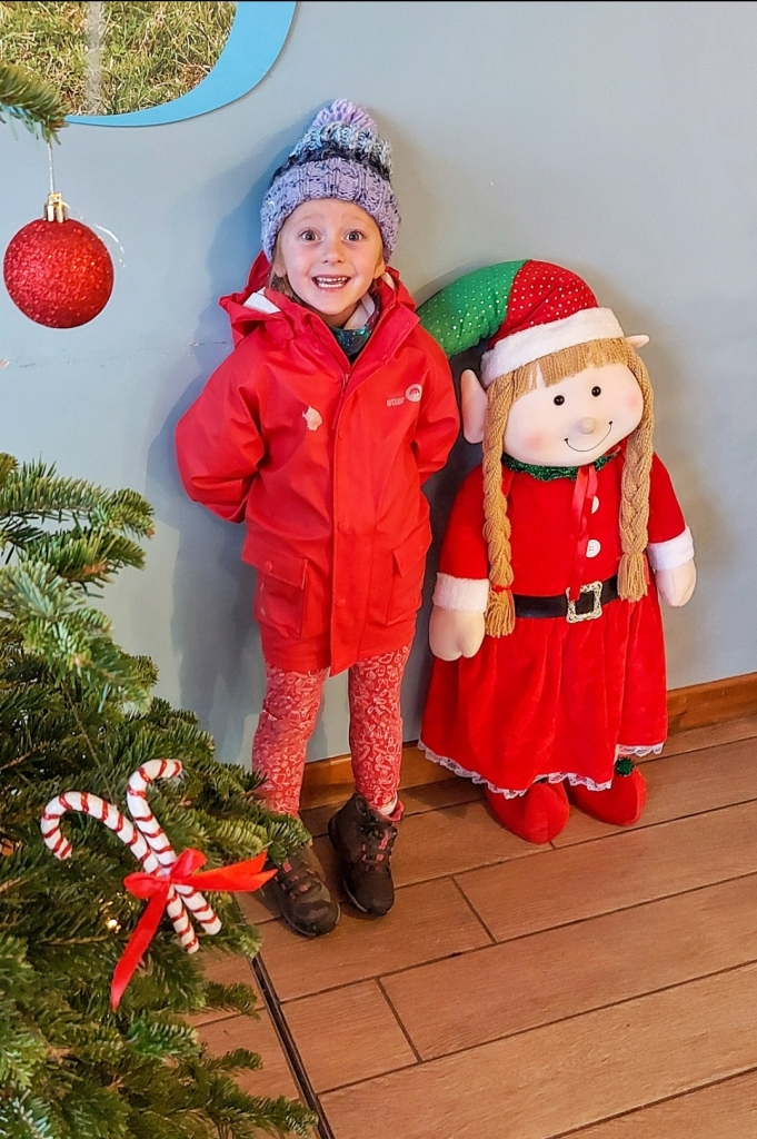 Lily was very excited that she looked like the elf in the café at Bluebell Dairy!