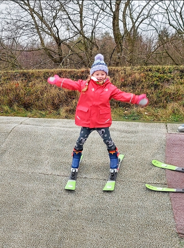 Enjoying her ski taster session at Swadlincote Snowsports Centre