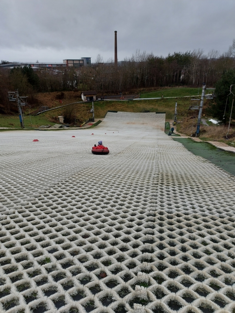 Snow tubing involves sliding down the 70m slope in a rubber tube!