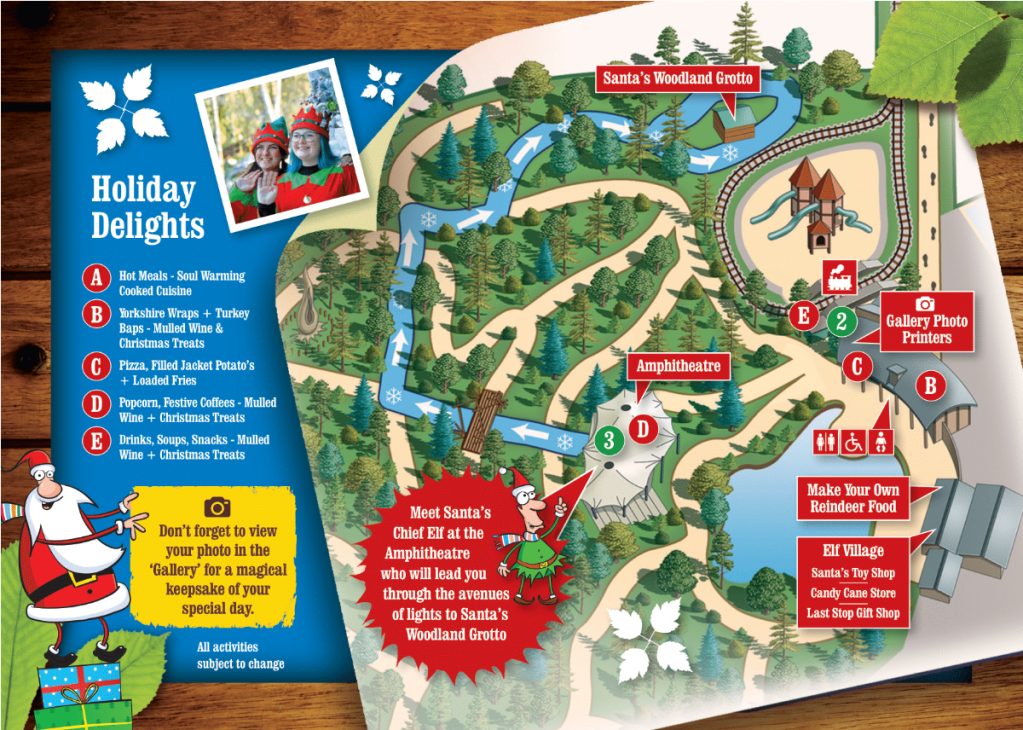 Conkers Winter Wonderland map - the Waterside Centre and Elf Village