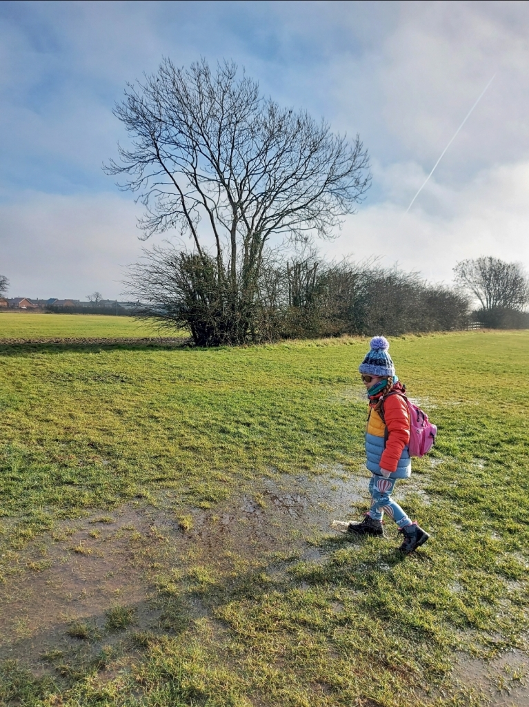 This field is 2 minutes from our house, but she loves how the ice has now turned to endless puddles!