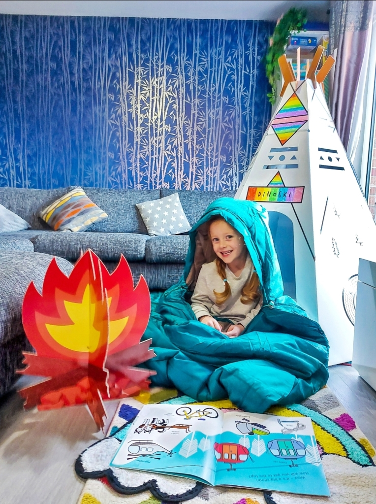Have a campout with stories and hot chocolate!