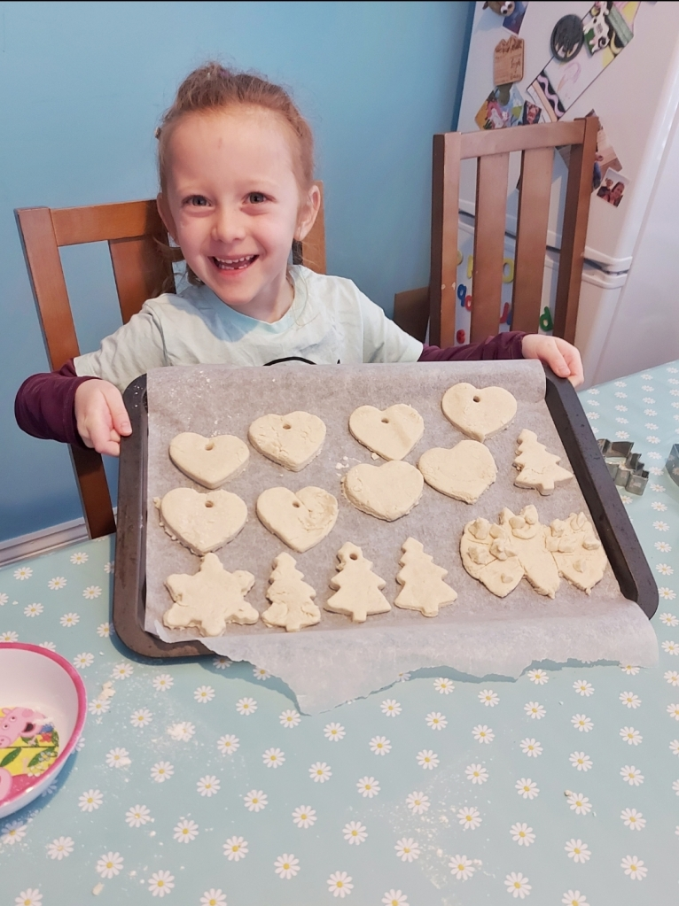 Lily was so proud of her salt dough creations at the event, all ready for baking