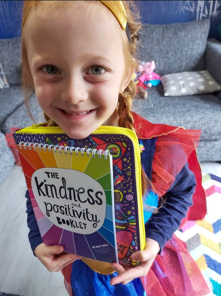 SuperLily with the Kindness & Positivity Booklet and Fun Folder from My Busy Bots