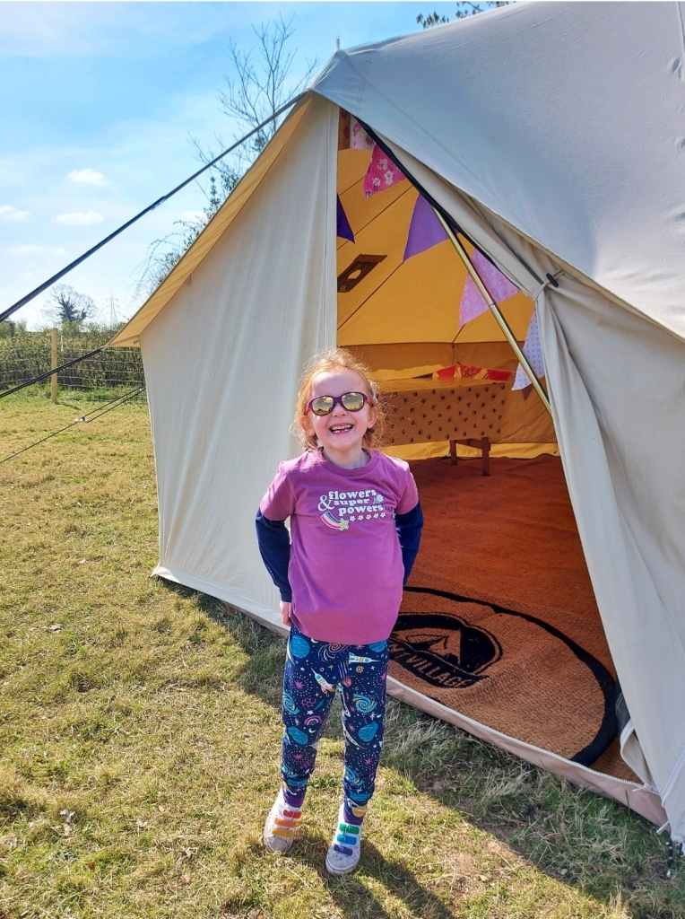 The new bell tent for extra experiences on the farm at Barlefield Glamping