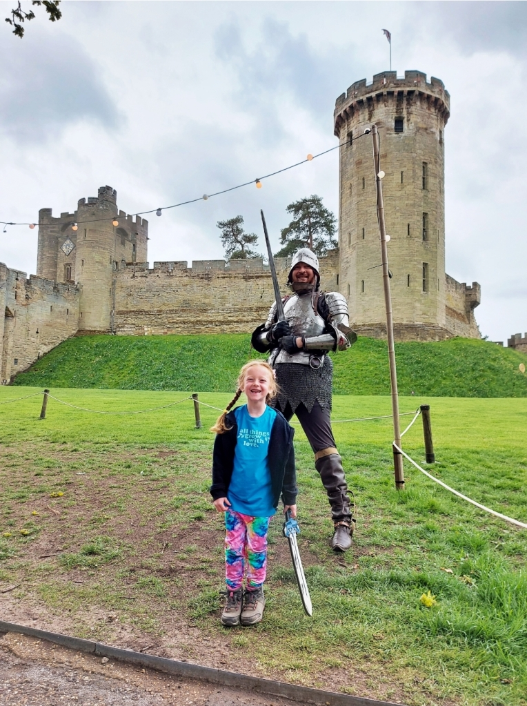 There were knights and other characters around the grounds of Warwick Castle