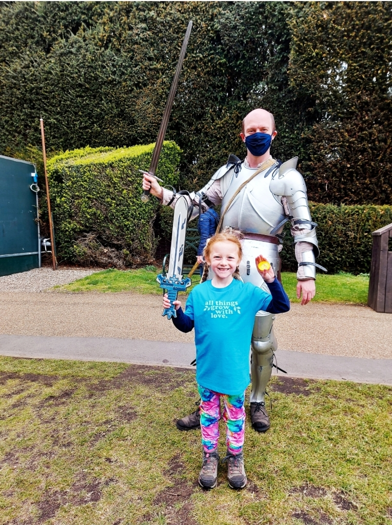 Lily was so proud of her Golden Star badge - the sword we bought on a previous visit to Warwick Castle